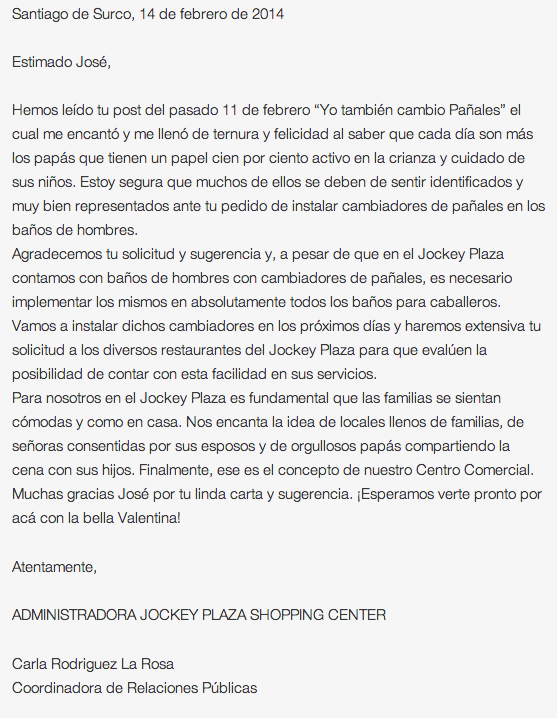Carta del Jockey Plaza